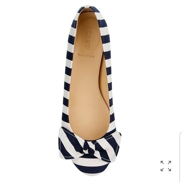 71e610ea566 J. Crew Shoes - J. Crew Navy Blue   White Stripe Bow Ballet Flats